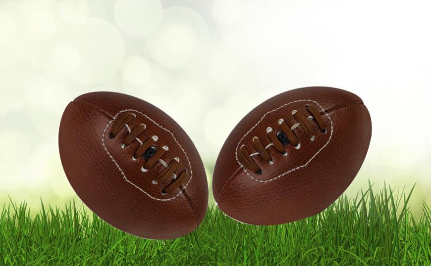 Mini ballon de rugby personnalisé old school en cuir synthétique